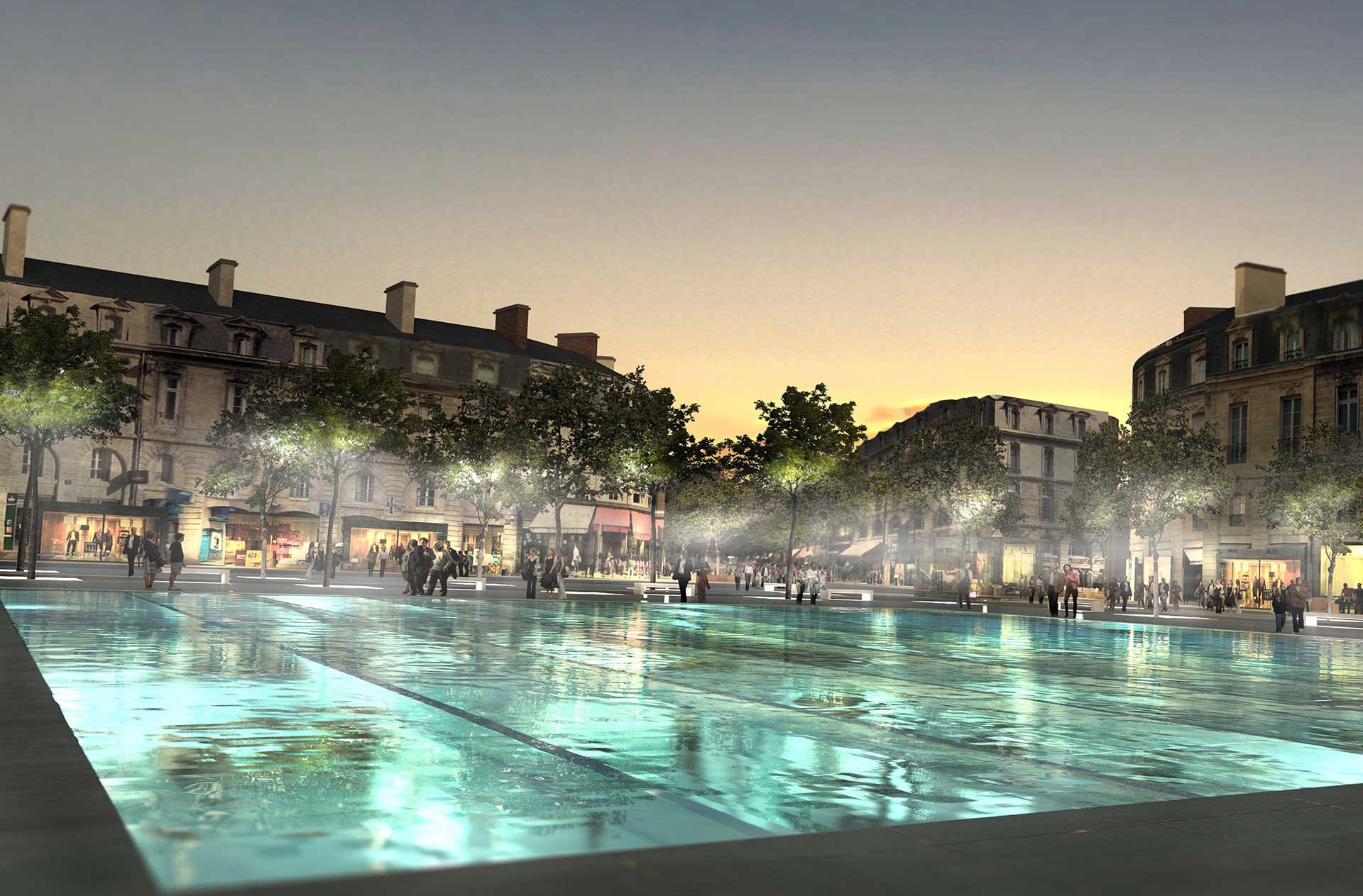 Place Gambetta - Vue du plan d'eau